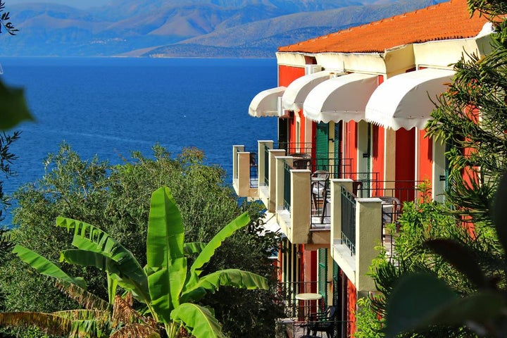 Apraos Bay in Kassiopi, Corfu, Greek Islands