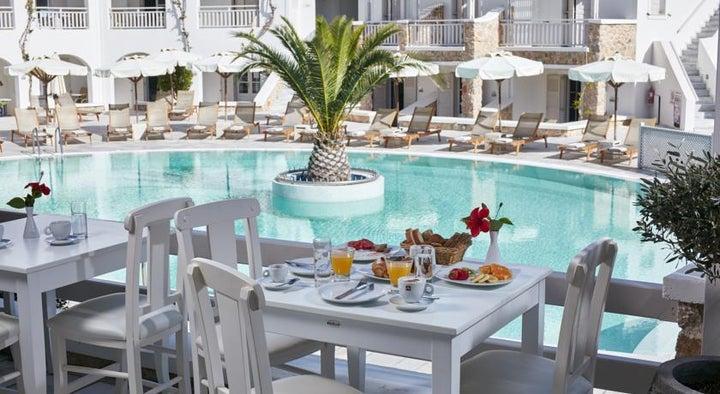 Aegean Plaza Hotel in Kamari, Santorini, Greek Islands