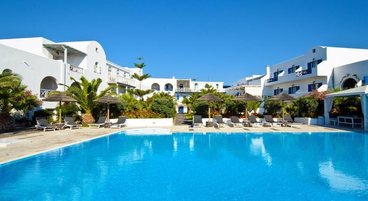 Mediterranean White Hotel in Kamari, Santorini, Greek Islands