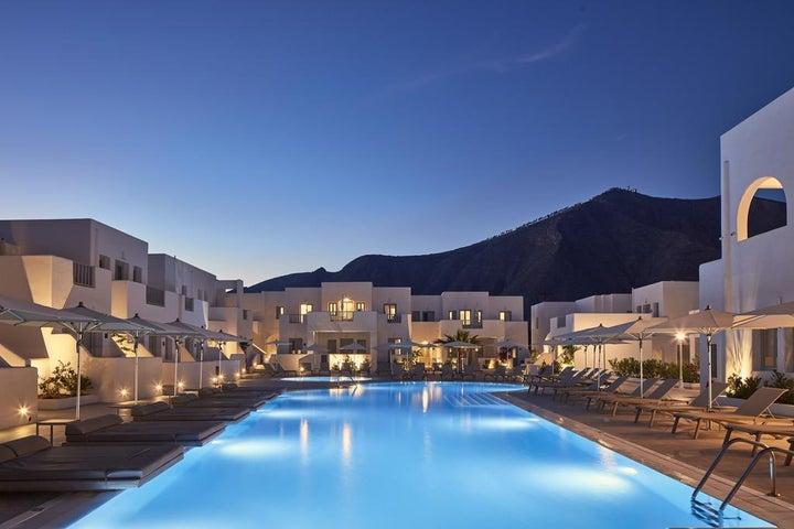Aqua Blue Hotel in Perissa, Santorini, Greek Islands