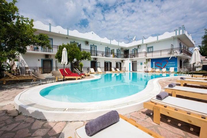 Aquarius Pool Aparthotel in Messonghi, Corfu, Greek Islands